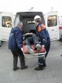Учения МЧС, пожар в театре. Оказание первой помощи и эвакуация пострадавших бригадами скорой помощи.